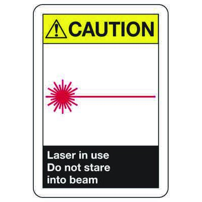 ANSI Signs - Caution Laser In Use Do Not Stare Into Beam