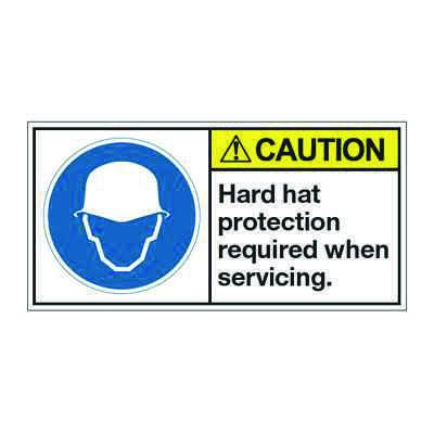ANSI Z535 Safety Labels - Caution Hard Hat Protection Required