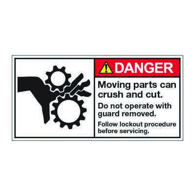 ANSI Z535 Safety Labels - Moving Parts Follow Lockout Procedure Before Service