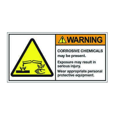 ANSI Z535 Safety Labels - Warning Corrosive Chemicals May Be Present