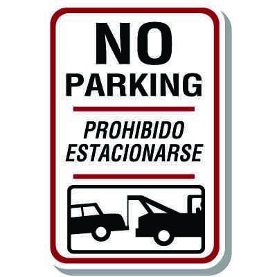 No Parking/Prohibido Estacionarse Signs (w/ Graphic)