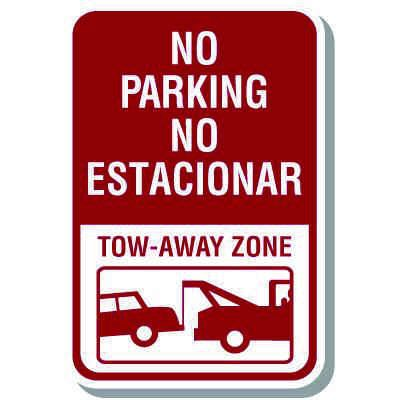 Bilingual Parking Signs - No Parking Tow Away Zone