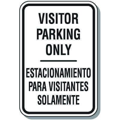 Bilingual Parking Signs - Visitor Parking Only