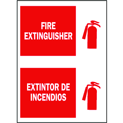 Bilingual Safety Signs - Fire Extinguisher