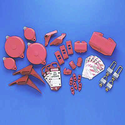 Brady Lockout Tagout Starter Kit Containing Electrical and Mechanical Lockout Devices (65779)