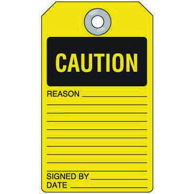 Caution - Self-Laminating Accident Prevention Tag