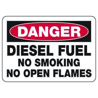 Chemical & HazMat Signs - Diesel Fuel No Smoking No Open Flames