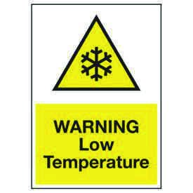 Cold Adhesion Safety Labels - Warning Low Temperature (W/ Graphic)