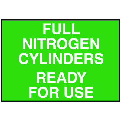 Cylinder Status Signs - Full Nitrogen Cylinders Ready For Use