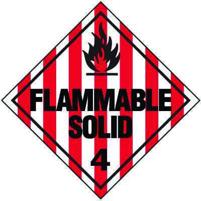 Flammable Solid 4 D.O.T. Placards