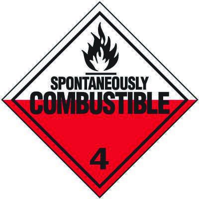 Spontaneouly Combustable 4 D.O.T. Placards