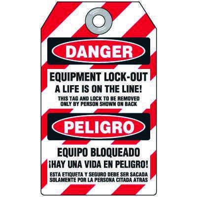Danger A Life Is On The Line - Bilingual Heavy Duty Plastic Lockout Tag