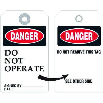 Danger Do Not Operate - Accident Prevention Heavy Duty Plastic Tag