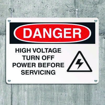 Danger Signs - High Voltage Turn Off Power Before Servicing (w/ Graphic)