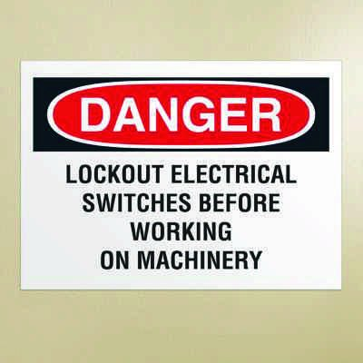 Danger Signs - Lockout Electrical Switches Before Working On Machinery
