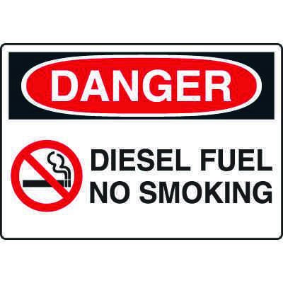 Diesel Fuel No Smoking Danger Signs