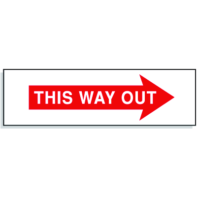 This Way Out with Right Facing Arrow- Directional Exit Signs