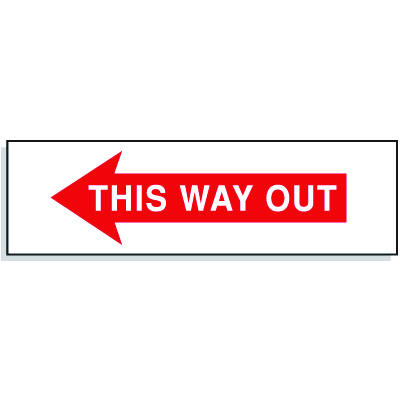 This Way Out with Left Facing Arrow- Directional Signs