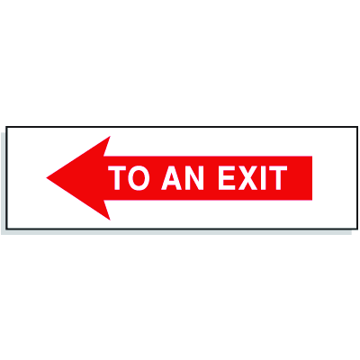 To An Exit with Left Facing Arrow- Directional Signs