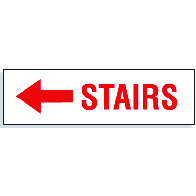 Stairs with Left Facing Arrow - Directional Signs