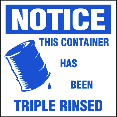 Drum Identification Labels - Notice This Container Has Been Triple Rinsed