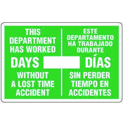Dry Erase Safety Tracker Signs - Department Worked __ Days Without A Lost Time Accident, English/Spanish