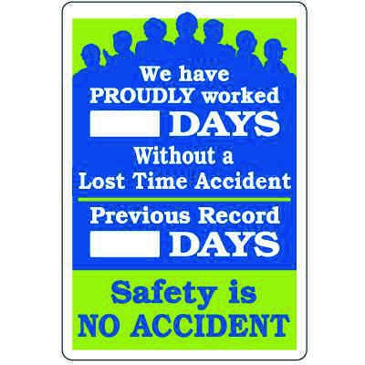 Dry Erase Safety Tracker Signs - Proudly Worked __ Days Without Lost Time Accident