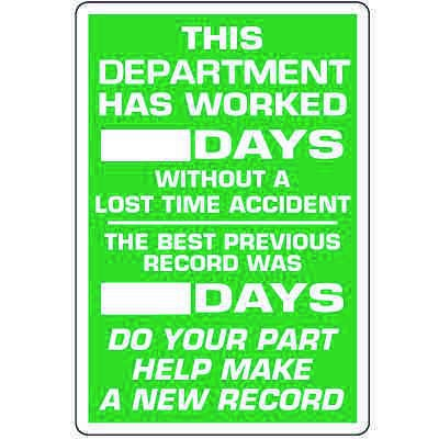 Dry Erase Safety Tracker Signs - This Department Worked __ Days Without Lost Time Accident