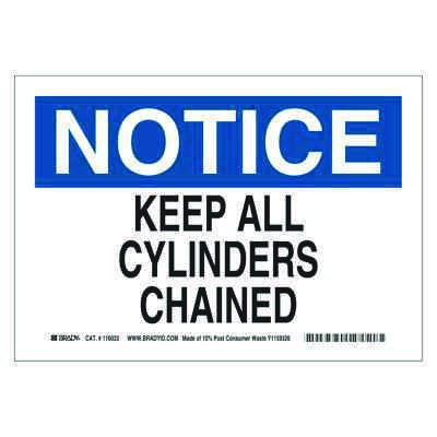 Brady Eco-Friendly Notice Sign - Keep All Cylinders Chained - Eco-Friendly Pressure Sensitive - Part Number - 118252 - 1/Each