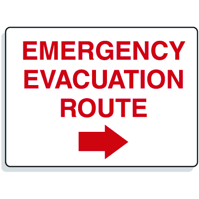Emergency Signs- Evacuation Route Arrow Right