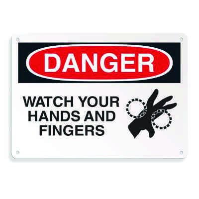Equipment Hazard Mini Safety Signs - Danger Watch Your Hands and Fingers