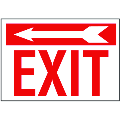 Exit Sign with Left Arrow Above