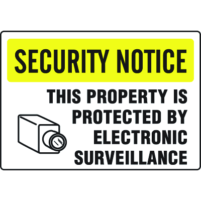 Extra Large Restricted Area Signs - Security Area Property Protected By Surveillance