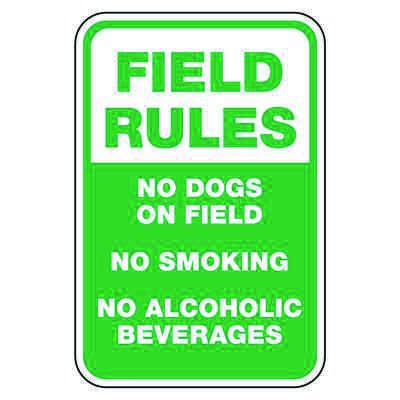 Field Rules No Dogs On Field - Athletic Facilities Signs