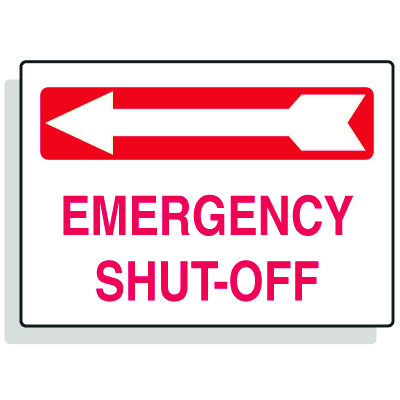 Emergency Shut-Off with Left Arrow Fire Sprinkler Control Signs