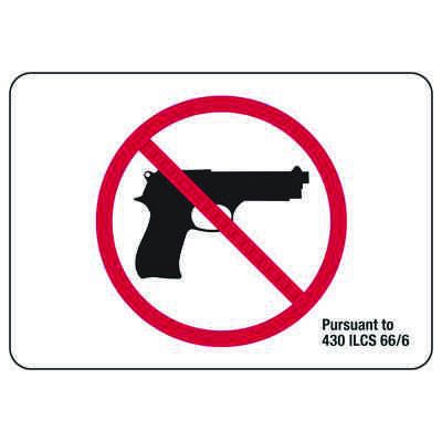 Illinois State Required Gun Prohibition Sign - Pursuant To 430 ILCS 66/65 With Graphic
