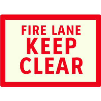 Fire Lane Keep Clear - Photoluminescent Sign