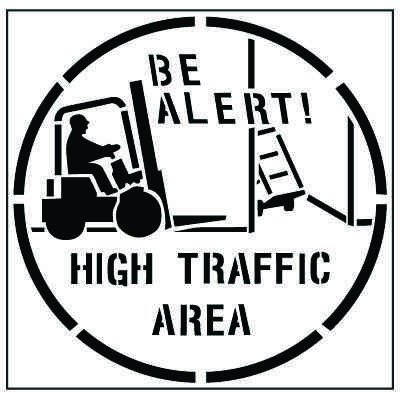 Large Floor Stencils - Be Alert! High Traffic Area