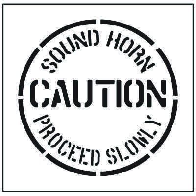 Large Floor Stencils - Caution, Sound Horn Proceed Slowly