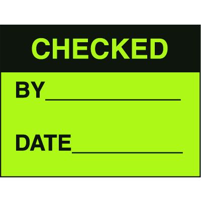 Checked By Date Fluorescent Paper Labels