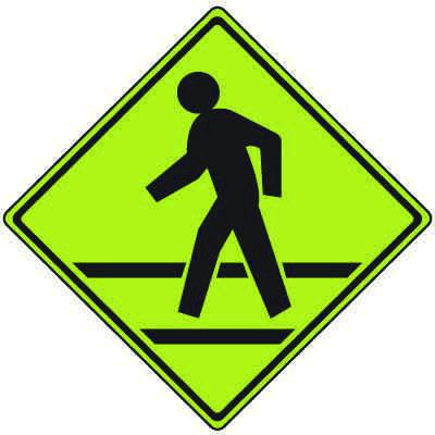 Fluorescent Pedestrian Signs - PED Xing With Crosswalk (Graphic)