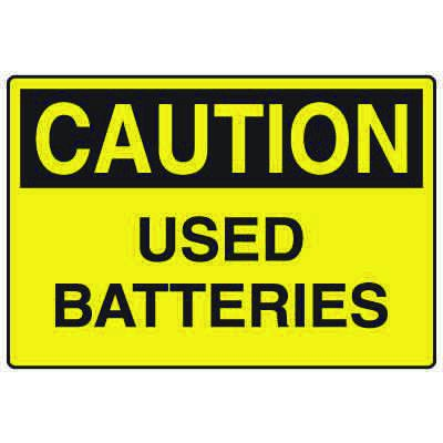 Forklift Safety Signs - Caution Used Batteries