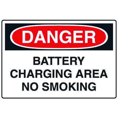 Forklift Safety Signs - Danger Battery Charging Area No Smoking