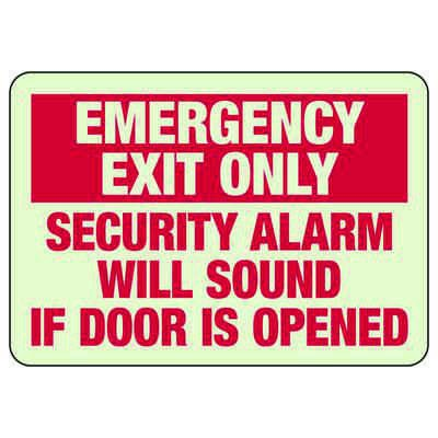 Luminous Exit and Path Marker Signs - Emergency Exit Only Security Alarm Will Sound If Door Is Opened