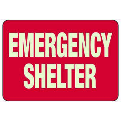 Emergency Shelter - Glow-In-The-Dark Safety Signs