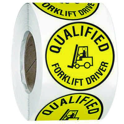 Hard Hat Safety Labels On A Roll - Qualified Forklift Driver