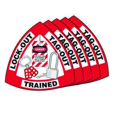 Hard Hat Label Value Packs - Lock-Out Tag-Out Trained