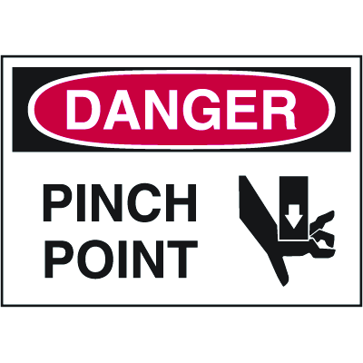 Hazard Warning Labels - Danger Pinch Point (With Graphic)