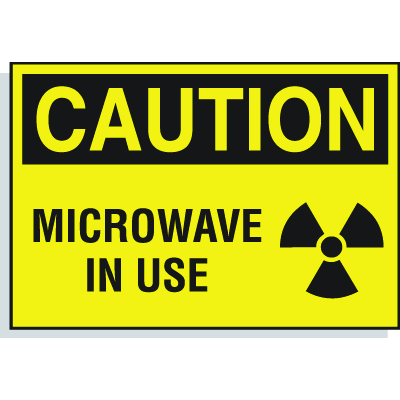 Caution Microwave In Use - Hazard Warning Label