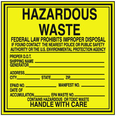Hazwaste Container Labels - Hazardous Waste